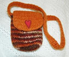 Handmade Felted Wol Autumn Stripes Mini Purse/ Cell Phone Bag by luvncrafts for $12.00