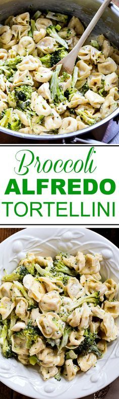 Broccoli Alfredo Tortellini 30 Minute Meal Recipe via Spicy Southern Kitchen - just a few simple ingredients and this meal is on the table is less than 30 minutes! - The BEST 30 Minute Meals Recipes - Easy Quick and Delicious Family Friendly Lunch and Di Veggie Recipes, Pasta Recipes, New Recipes, Dinner Recipes, Cooking Recipes, Healthy Recipes, Dinner Ideas, Quick Recipes, Budget Cooking