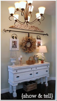 Love this dresser turned entry way table
