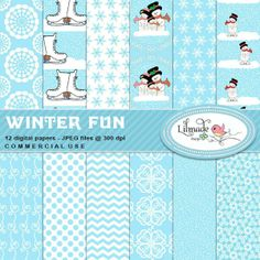 Winter Fun #DigitalPapers | You will love these #winter inspired digital papers! These papers come in a beautiful combination of icy blue and white and classic winter motifs such as snowflakes, snowman families, a snowman skating on ice, a fun and quirky set of ice skate boots, plus chevrons, flowers, swirls and snow papers.