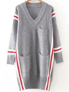 Rayas de gran tamaño suéter largo