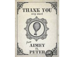 Hot Air Balloon Thank You Card Steampunk by HydraulicGraphix