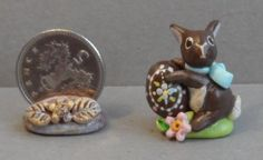 OOAK chocolate look bunny and easter egg miniature Cottage Kitty