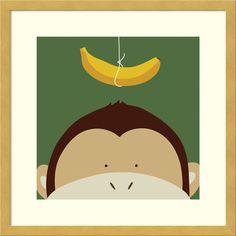 Framed Art Print 'Peek-a-Boo Monkey' by Yuko Lau 17 x 17-inch