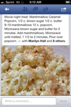 Marshmallow Popcorn- Made this tonight with coconut oil in place of the butter and oh my gosh, deliciousness!! Throw a little salt on top, yum!