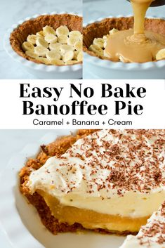 This simple, no bake banoffee pie has layers of buttery biscuit base, thick and sweet caramel, slices of fresh banana and a cloud of soft whipped cream. An easy, delicious no bake dessert that is sure to be an instant crowd pleaser! Banana Recipes, Tart Recipes, Cheesecake Recipes, Sweet Recipes, Turtle Cheesecake, Homemade Cheesecake, Cheesecake Bites, Desserts For A Crowd, No Bake Desserts