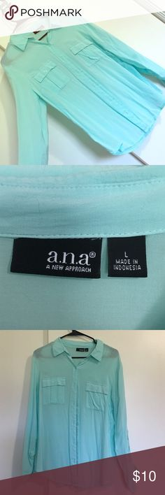 Shirt Aqua colored button up shirt. Full sleeve length to 3/4 a.n.a Tops Button Down Shirts
