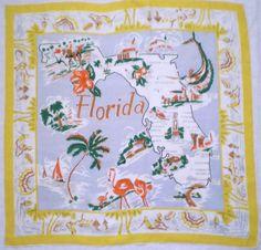 Vintage Florida Silk Scarf
