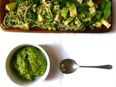 :: Recipe : Soba Salad with Miso, Spinach & Green Olive Pesto