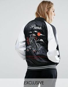 Puma Souvenir Satin Jacket In Black
