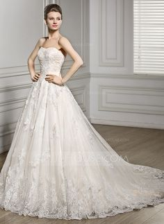 A-Line/Princess Sweetheart Court Train Tulle Lace Wedding Dress (002056610) #jjshouse