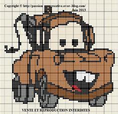 Grille gratuite point de croix : Cars - Dépanneuse Martin - Disney