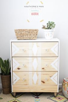 IKEA RAST hack.  All you need are a few supplies to make over this cheap ikea dresser into a sleek modern mid century dresser or night stand.