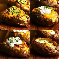 Loaded Baked Potatoes 4 Ways - Tasty Videos I Love Food, Good Food, Yummy Food, Tasty Videos, Food Videos, Cooking Videos, Loaded Baked Potatoes, Loaded Potato, Stuffed Baked Potatoes