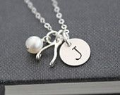 Tiny Wishbone Necklace ... Initial Necklace, Sterling Silver, Hand Stamped Necklace,  Personalized Jewelry, Good Luck Charm