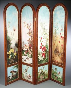 Magnificent English Four-Panel Burled Walnut Folding Screen, Each Panel Painted On Both Front And Back With Elaborate Hunt Scenes, Birds And Flowers - English Room Divider Screen, Room Screen, Room Dividers, Antique Furniture, Painted Furniture, Dressing Screen, Japanese Screen, English Decor, Decorative Screens
