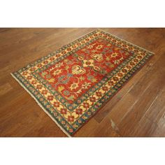 nice Traditional Hand-knotted Super Kazak Siam Red Wool Floral Area Rug (4' x 6') Check more at http://yorugs.com/shop/traditional-hand-knotted-super-kazak-siam-red-wool-floral-area-rug-4-x-6/