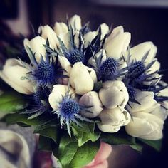 Tulips and thistle wedding bouquet