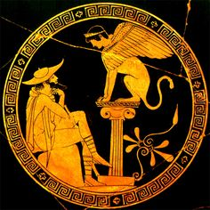 Oedipus and Sphinx. Attic Red-figure kylix by Douris. Detail of tondo: Oedipus, dressed as a traveller (hat, staff), seated before the Sphinx, who is perched atop a short Ionic column. By the Oedipus painter Ancient Greek Art, Ancient Persian, Ancient Greece, Greek Decor, Greek Paintings, Sphinx, Greek Pottery, Science Art, Greek Mythology