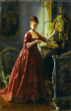 """catonhottinroof: """" Alfred Stevens ( 1823 – Winding The Mantle Clock """" Alfred Stevens, Classic Paintings, Beautiful Paintings, Portrait Photos, Victorian Paintings, Victorian Artwork, Art Ancien, Classical Art, Woman Painting"""