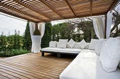 pergola - love the contrast of white and timber Pergola Garden, Pergola Canopy, Deck With Pergola, Wooden Pergola, Gazebo, Porches, Outdoor Spaces, Outdoor Living, Queenslander House