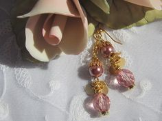 Pretty Pink Pearl and Crystal Dangle Earrings by MoonwitchDesigns, $20.00