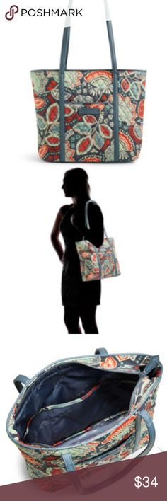 """Small Trimmed Vera Bradley tote Small Trimmed Vera Nomadic Floral with Gray   Faux-leather trim. Exterior features one zip and one slip pocket. Interior features six slip pockets.  Zip closure. Dimensions 11 ½"""" W x 11 ¼"""" H x 4 ½"""" D with 12"""" strap drop Vera Bradley Bags Totes"""