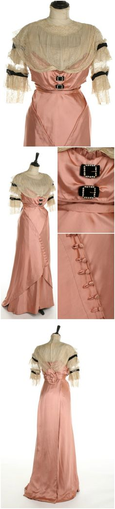 Circa 1908-1911 G & E Spitzer of Vienna pink satin directoire style gown, via Kerry Taylor Auctions.