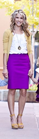 Long necklace. Purple pencil skirt white ruffle blouse. Yellow cardigan. Yellow wedges.