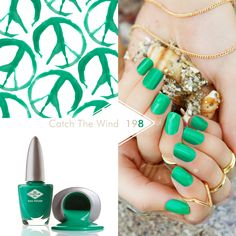 198 Catch The Wind An intense yet bright green, that will no doubt appeal to those Ibiza types in their romantic cheesecloth dresses. Shellac Colors, Nail Colors, Colours, Bio Sculpture Nails, Summer Of Love, Summer 2015, Happy Hippie, Gel Color, Bright Green