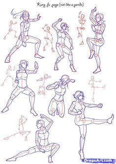 How To Draw Anime Poses | How to Draw Fighting poses, Step by Step, Figures, People, FREE Online ...: