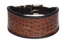 """Halsband """"Croco"""", gefertigt aus gebuggtem Rindsnappaleder und geprägtem Kalbsleder in Krokodiloptik. Breite ca. 5 cm."""