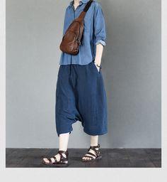 Blue linen women summer trouser