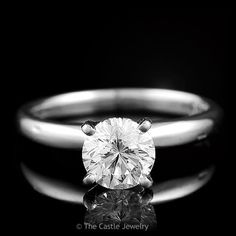 """""""Leo"""" Diamond 1 ct Solitaire Engagement Ring in 14K White Gold 4 Prong – The Castle Jewelry"""