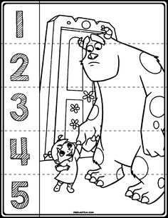 Free printable materials for working on basic number sense skills. Target numbers with this simple and effective activity. Kindergarten Centers, Preschool Math, Monsters Inc, Curriculum, Homeschool, Number Puzzles, Pre K Activities, Number Recognition, Number Sense