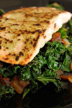 Wasabi Salmon with Asian Kale by greenlitebites #Salmon #Kale #Wasabi #Asian #Healthy