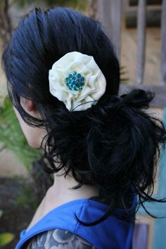 Style 8 / white and turquoise hair flower