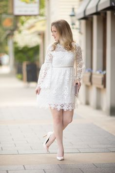 Petite Fashion and Style Blog | Chicwish Floral Rhapsody Crochet Dress in White | YSL Wallet on Chain | Click to Read More...