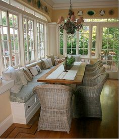 **1** long bench (in different color), wicker chairs, rustic long table, for a narrow space!!, of course thge chandelier