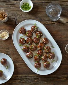 A quick and easy teriyaki sauce of soy sauce, honey, and rice vinegar glazes flavorful meatballs seasoned with garlic, ginger, and scallions. Yummy Appetizers, Appetizer Recipes, Meat Recipes, Food Processor Recipes, Cooking Recipes, Lamb Recipes, Meatball Recipes, Asian Recipes, Sauce Teriyaki