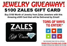 Enter to win a $100 Zales Jewelers Gift Card. The giveaway is open to US residents only and ends April 19, 2015.