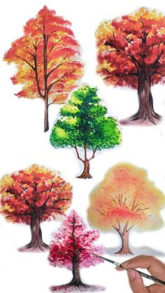 Tree Painting Easy, Tree Watercolor Painting, Autumn Painting, Watercolor Flowers, Watercolor Beginner, Watercolor Paintings For Beginners, Acrylic Painting Tutorials, Trees Drawing Tutorial, Drawing Trees