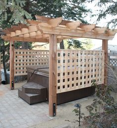 Find dozens of inspiring hot tub privacy ideas that you can use as the ultimate reference to improve your outdoor living space! Hot Tub Pergola, Hot Tub Garden, Hot Tub Backyard, Backyard Gazebo, Pergola Patio, Cedar Pergola, Pergola Ideas, Landscaping Ideas, Garden Jacuzzi Ideas