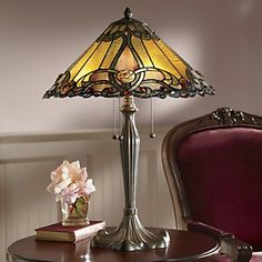 Marbled amber and pink glass adorned with red cabochons make this Tiffany-style lamp an elegant showpiece with timeless appeal. Fluted resin base and three pull chains. Available only in multi. Stained Glass Lamp Shades, Stained Glass Light, Stained Glass Projects, Stained Glass Patterns, Antique Lamps, Vintage Lamps, Leaded Glass, Mosaic Glass, Room Lamp