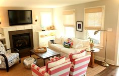Living Room, Small Living Room Ideas With Fireplace And TV: Decorating Ideas for Small Living Rooms on a Budget