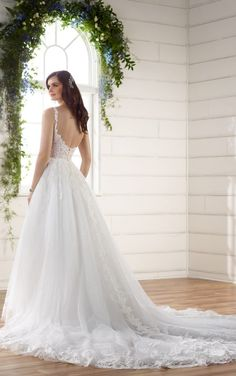 D2230 Romantic Boho Wedding Dress with Lace Train by Essense of Australia