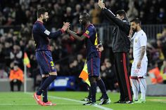 Eric Abidal plays first match a year after liver transplant   Liga 2012/13, 30th round   FC Barcelona 5 - 0 RCD Mallorca.