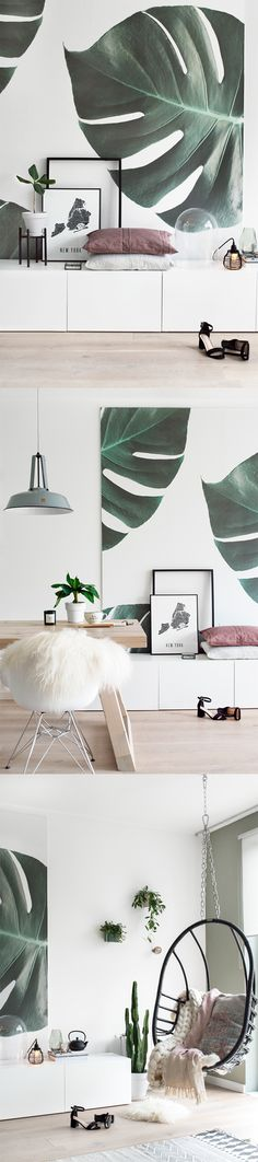 In love with all things green? This monstera wallpaper brings a feeling of calm to your living room spaces while looking uber stylish! Loving this nifty use of our wallpaper on a canvas too! Beautiful styling by Tanja van Hoogdalem.
