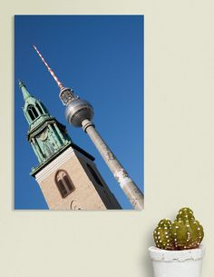 Discover «Berlin radio tower and church», Numbered Edition Canvas Print by Sander van Leusden - From 45€ - Curioos