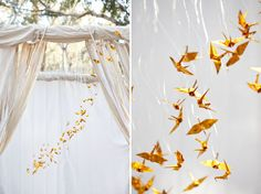Gold origami paper cranes made to resemble tiny mockingjays decorate the ceremony backdrop for this Hunger Games wedding shoot. Photo by Ashley Photographer via Green Wedding Shoes Origami Wedding, Diy Wedding, Green Wedding, Wedding Birds, Wedding Shoot, Wedding Ideas, Wedding Ceremony, Wedding Canopy, Wedding Stage